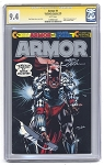 Armor #1 comic Silver Logo by Continuity Comics Signed - CGC 9.4