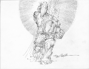 Hulk UpperCut - Original Pencil Illustration