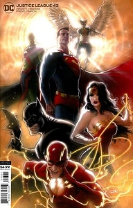 JUSTICE LEAGUE #43 CARD STOCK KAARE ANDREWS VAR ED