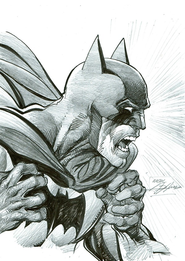SOLD - Batman Pencil and Ink Illustration - Wrath